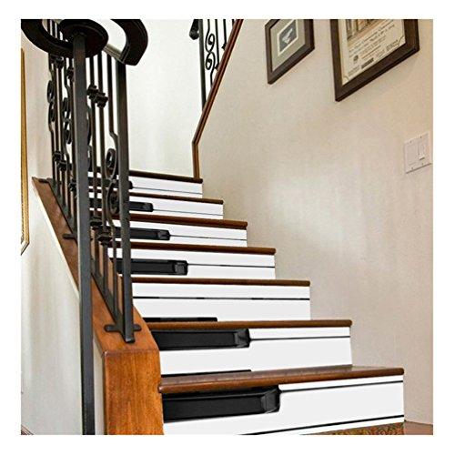 Albeey 3D Treppen-Aufkleber, Wasserfall Treppenhaus Decals DIY Vinyl wasserdichte Treppe Wanddekorationen Selbstklebende Wandaufkleber 18cm x 100cm x 6 Stück (Klavier)