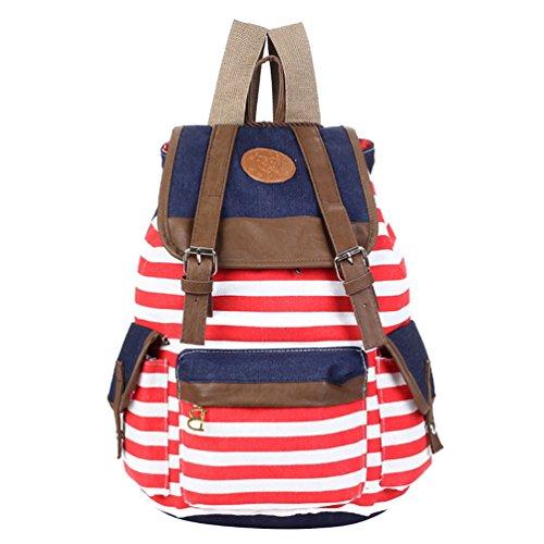 Sentao Damen Einfache Gestreift Leinwand Rucksäcke Schultertasche Freizeitrucksack Reisetaschen Rot