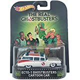 """Ecto 1 Ghostbusters Cartoon Car """"The Real Ghostbusters"""" Hot Wheels 2015 Retro Series 1/64 Die Cast Vehicle"""