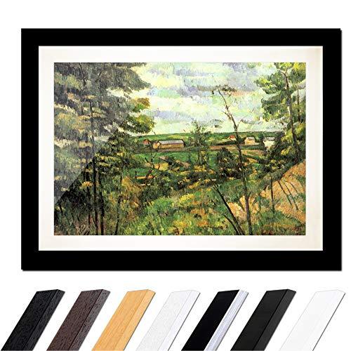 Bild mit Rahmen - Paul Cézanne Das Tal der Oise 40x30cm ca. A3 - Gerahmter Kunstdruck inkl. Galerie Passepartout Alte Meister - Rahmen schwarz glatt -