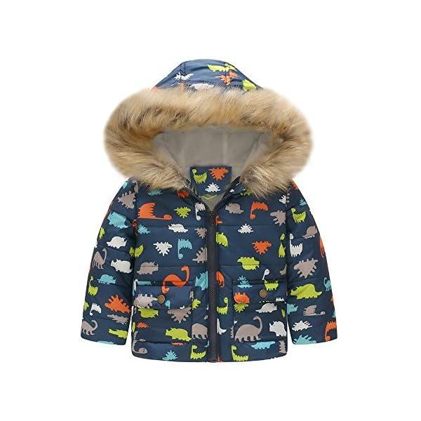 Abrigos Bebe Invierno Chaqueta cálida de Invierno de Dinosaurio para bebés niñas niños Abrigo a Prueba de Viento con… 1