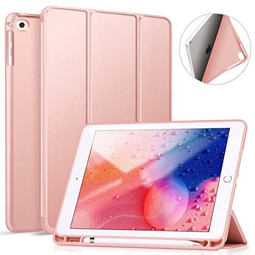 ZtotopCase Hülle für iPad 9.7 Zoll 2018/2017,Ultradünne Soft TPU Rückseite Abdeckung Schutzhülle mit eingebautem Apple Pencil Halter, Automatischem Schlaf/Aufwach, für iPad Air 2/Air 1,Roségold