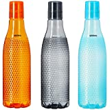 Amazon Brand – Solimo Plastic Fridge Bottle Set (3 pieces, 1L, Checkered pattern, Multicolour)