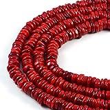 "AqBeadsUk Premium Genuine Semi-Precious Red Coral 10x3mm Rondelle Gemstone Jewellery Making Beads 16"""