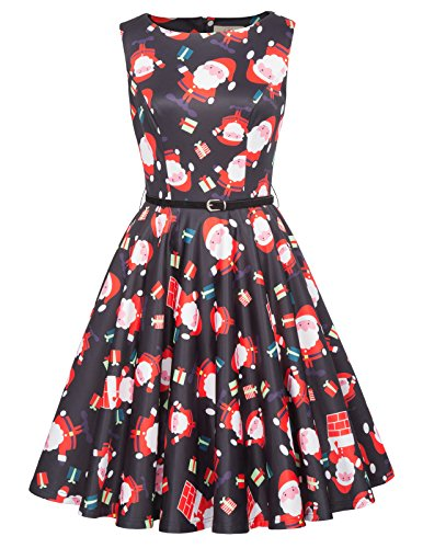 Yafex Women's Empire Floral Round Collar Sleeveless Dress - - Small