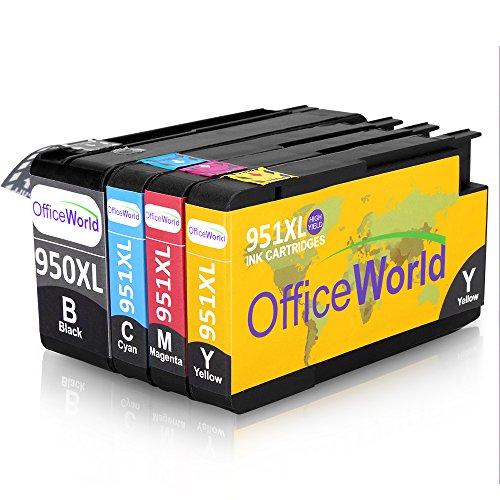 Preisvergleich Produktbild OfficeWorld Ersatz für HP 950XL 951XL Druckerpatronen Hohe Kapazität mit Neuer Chips Kompatibel für HP Officejet Pro 8600 8610 8620 8630 8640 8100 8660 8625 8615 251dw 276dw (1 Schwarz, 1 Cyan, 1 Magenta, 1 Gelb)