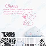 haochenli188 Ohana Signifie Famille Signifie Personne ne Doit être oublié ni oublié Lilo and Stitch Stickers muraux français Stickers muraux pépinières 62x42cm
