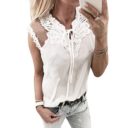 Tank Tops damen Kolylong® Frauen Elegant Spitze Ärmellose Blusen mit Schleife Festlich Chiffon Oberteile Weißes Business Hemden Sommer Sleeveless Shirt Tunika T-Shirt Sweatshirt (S, White) (Vor Maternity Tank-top)