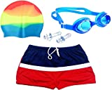 #7: Bloomun Swimming Shorts Swimsuit for Kids Boy Red & Navy With White Border