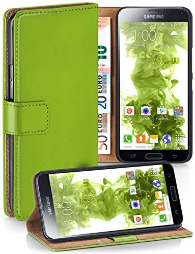 moex® Booklet mit Flip Funktion [360 Grad Voll-Schutz] für Samsung Galaxy S5 | Geldfach und Kartenfach + Stand-Funktion und Magnet-Verschluss, Grün