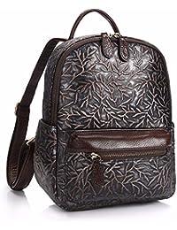 WanJiaMen'Shop Sac en cuir cuir cire huile sac à bandoulière double du vrai sac fashion cents-seau sac de voyage étudiant, 27 14 29cm, bleu