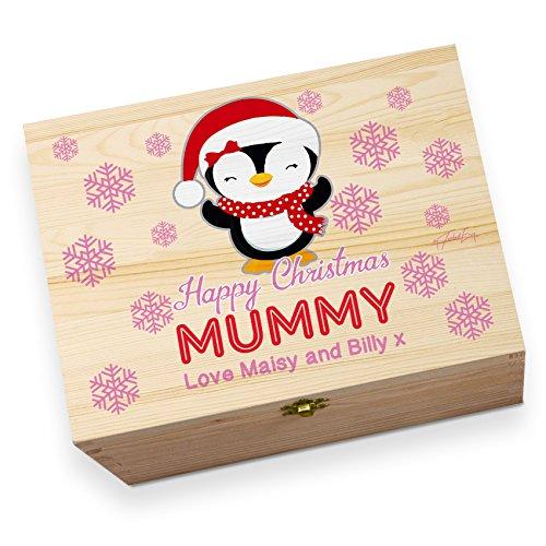 personalisierbar Mama Pinguin bedruckt Christmas Eve Holz Geschenkbox (Pinguin Mama)