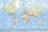 empireposter 747105 Landkarten - Weltkarte mit Flaggen deutsche Version - BildungsPlakat, Papier, Mehrfarbig, 91,5 x 61 x 0,14 cm