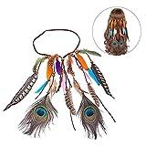 Pluma de la cabeza pluma de pavo real nupcial de la boda titular de la cabeza accesorios de pelo para las mujeres las niñas
