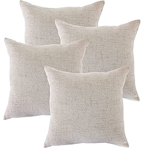 Home Decorative Cushion Cover Plain Faux Line Throw Pillow Case Cushion Protector 18x18 Inches Neutral Gray Set Of 4 For Couch,Bed,Sofa Or Patio-MRNIU