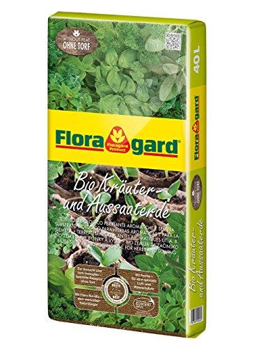 Floragard Bio Kräuter- und Aussaaterde ohne Torf 40 L,  für Jungpflanzen u. Kräuter wie Basilikum, Thymian, Oregano