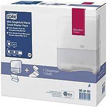 Tork 953101 - Pack de dispensador y recambio de toallas de mano, color blanco