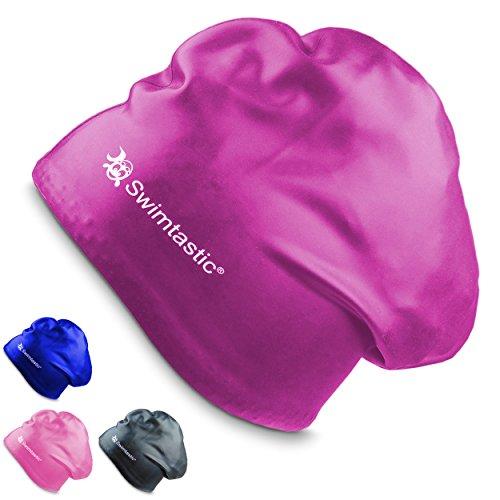 Swimtastic Schwimm-Badekappe speziell für langes, dickes oder lockiges Haar, violett