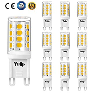 G9 LED 2W Light Bulb Equivalent to 20W Halogen Bulbs Warm White 3000K Energy Saving Lamp for 20W, 28w Halogen, AC220-240V, No Flicker, 360°Beam Angle, Pin Base G9, 10-Pack Yuiip [Energy Class A++]