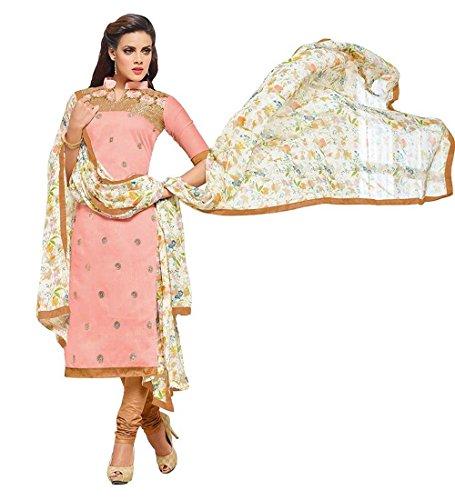 Shree Mira Impex Women's Cotton Dress Material (SMIX-132_Free Size_Pink)
