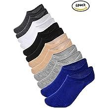 Pangda Calcetines Invisibles Calcetines Cortos Calcetines de Barco con Agarre Antideslizante, 6 Pares (Multicolor 3)