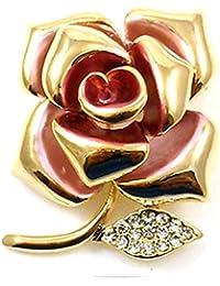 PYNK Jewellery Brooches Store Brosche Silber vergoldet /& Rosa Emaille Blume Rose auf dem Vorbau Brosche mit Perle