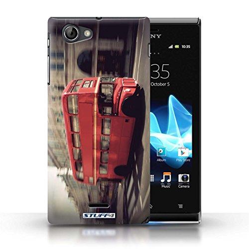 Kobalt® Imprimé Etui / Coque pour Sony Xperia J (ST26i) / Tower Bridge conception / Série Londres Angleterre Rouge Bus