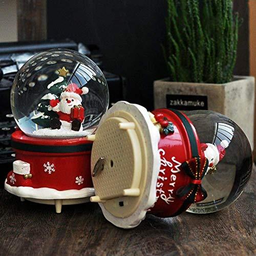 Spieluhr Schneekugeln Musical mit Tanz Schneeflocken Handgemachte Wasser-Kugel Crafts for Thanksgiving Geburtstag, Weihnachten, Neujahr Musikbox, rot meyeye (Color : Red)