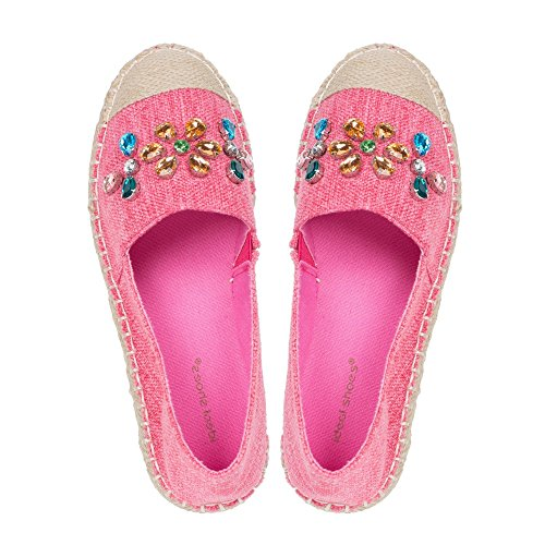 Ideal Shoes Espadrilles Strass Leinwand Edeline Rot - Fuchsia