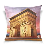 Klotr Fundas para Almohada, ARC De Triomphe Paris City at Sunset Decorative Square Throw Pillow Case Cushion Cover for Sofa Bedroom Car Double-Sided Design 18 x 18 Inch
