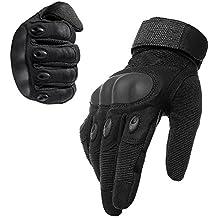 1par ventilar alfombrilla antideslizante de fibra de carbono Kevlar guantes de dedo completo al aire libre moto ciclismo racing guantes guantes de esquí patinaje senderismo (negro, XL)