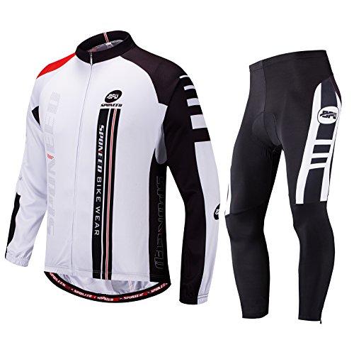 sponeed Fahrradbekleidung für Herren, langärmelig, Mountainbike, Rennrad, Jeresys Hose, gepolstertes Fahrrad Jakcet Outfit, Herren, weiß, Asia M=US Small