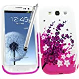 Samrick Étui en hydro gel protecteur avec protection d'écran, chiffon en microfibre et mini-stylet blanc pour écran capacitif pour Samsung Galaxy S3 i9300/LTE 4G Noir/rose/blanc avec roses