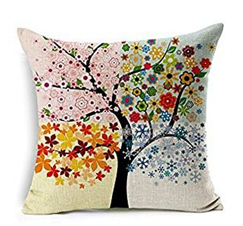 Lesley Pierce Abstract Four Seasons Trees Cotton Linen Decorative Throw Pillow Case Cushion Cover
