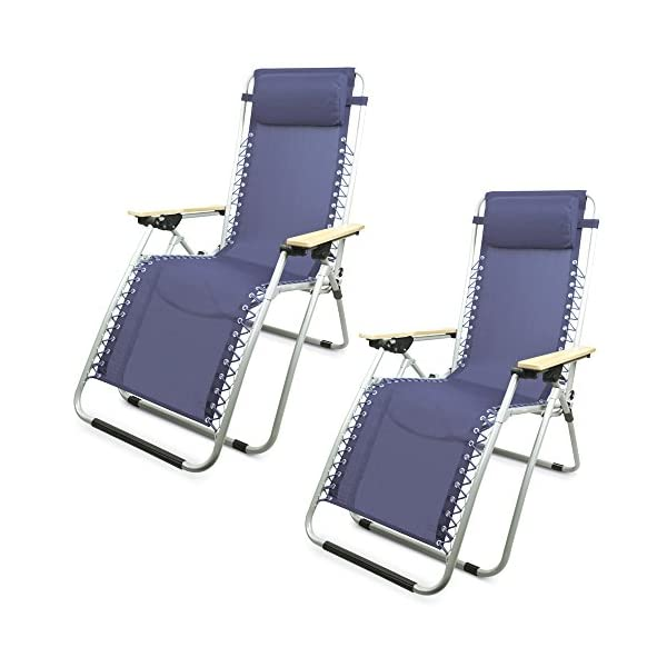 Clifford James Zero Gravity Outdoor Recliner Chair Pack of 2 - Navy Blue