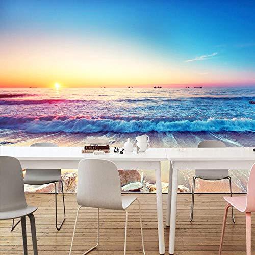 YCRY - Fototapete - Tapete Sonnenspray am Strand von Pappel - Moderne Wanddeko - Design Tapete - Wandtapete - Wand Dekoration-450x300cm