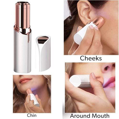 Depiladora de Vello Facial para Mujeres Eléctricas afeitadora sin dolor para Mujer Removedor de la Maquinilla con Luz Led Incorporada Batería Impermeable Depiladora Mini Recortadora
