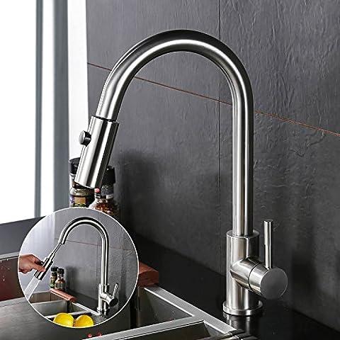 Homelody Spültischarmatur mit herausziehbarem /Ausziehbar Brause Einhebelmischer Wasserhahn Küche Armatur Mischbatterie Wasserkran hoher Auslauf