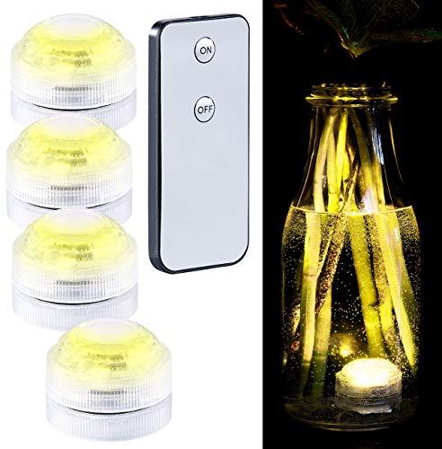 Lunartec LED wasserdicht: 4er-Set Mini-LED-Unterwasser-Dekolichter, warmweiß, mit Fernbedienung (LED-Unterwasser-Beleuchtung)