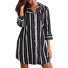 MEMORY BABY Sexy Pigiama Donna Cotone Camicia Lunga in Modale con Maniche  Corte Scollo V Button 8a83c829a21