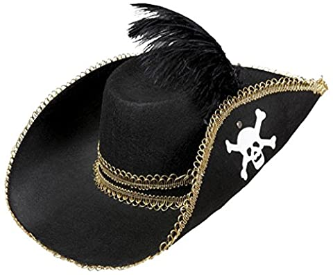 Pirate Felt With Skull & Feather Pirate Hats Caps & Headwear for Fancy Dress Costumes Accessory