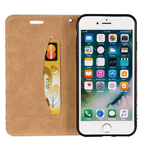 Coque pour iPhone 7, Etui pour iPhone 7s, ISAKEN Peinture Style Soulagement de la couleur PU Cuir Flip Magnétique Portefeuille Etui Housse de Protection Coque Étui Case Cover avec Stand Support et Car carte