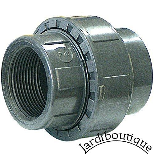 jardiboutique Union 3 Pieces a Coller diamètre 50 mm et a Visser 1 1/2 PN 16 - raccord PVC