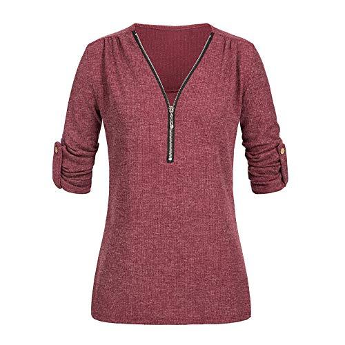 Damen Casual Tops Shirt Damen V-Ausschnitt Reißverschluss lose T-Shirt Bluse Tops