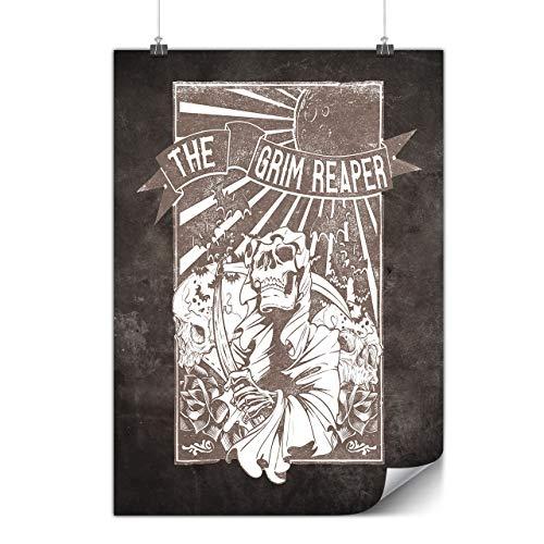 Wellcoda Das Grimmig Sensenmann Schädel Plakat Tod A0 (119cm x 84cm) Mattes schweres Papier, Ideal für die Gestaltung, Einfach zu hängen Kunst (Himmel Und Hölle Kostüm)