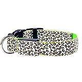 HAOKAN Haustier Halsbänder Einstellbare Led Licht Glow Pet Kragen Leopard Nylon Haustier Hund Katze Nacht Sicherheit Leuchtende Blinkende Halskette Glowing Neck Belt Für Pet