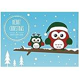 """12 Stück """"Eulen"""" Postkarten Weihnachtskarten und Silvesterkarten """"Merry Christmas & Happy New Year"""" mit süßen Eulen im Schnee - perfekt für Ihre Weihnachts- und Silvestergrüße - Original ArtUp"""