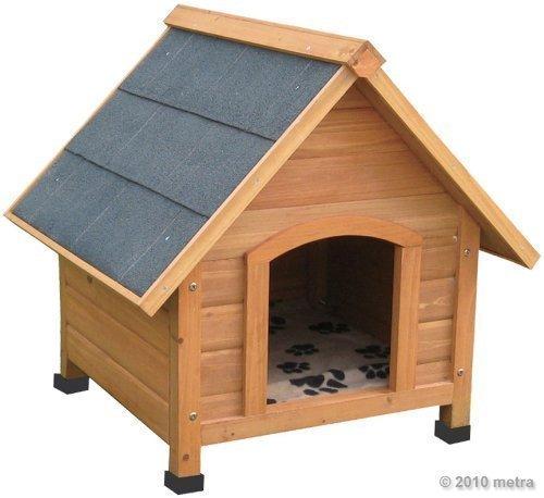 katzeninfo24.de Hundehütte, Hundehaus, Massiv Holz, spitzdach