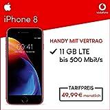 Apple iPhone 8 (Rot) 64GB Speicher Handy mit Vertrag (Vodafone Red M) 11GB Datenvolumen 24 Monate Mindestlaufzeit