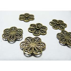 2 pieces breloque fleur dentelle Bronze